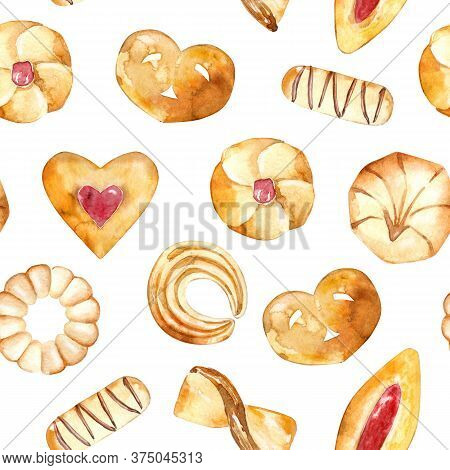 Seamless Pattern Of Baked Pastries. Collection Of Cookies, Shortbread And Crackers. Hand Drawn Backd