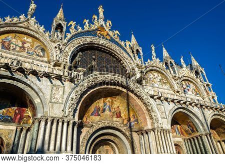 St Mark`s Basilica Or San Marco, Venice, Italy. It Is Top Landmark In Venice. Beautiful Ornate Porta