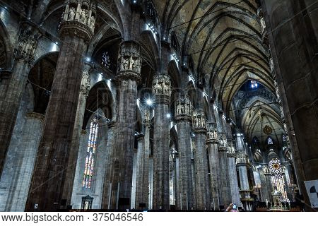 Milan, Italy - May 16, 2017: Interior Of Old Large Milan Cathedral Or Duomo Di Milano. It Is Great C