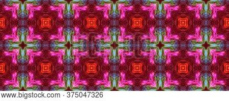 Majestic Floral Tile. Tile Japanese Geometric. Rustic Floral Image. Vivid Seamless  Mexican Mosaic D
