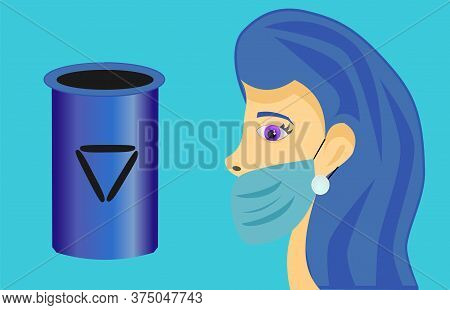 Masked Girl With Blue Hair And Bin