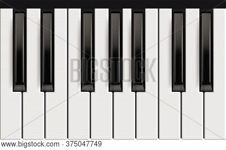 Piano Keys. Realistic Musical Instrument For Jazz Band White And Black Keys With Reflection Effects