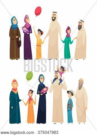 Muslim Family. Big Arabic Happy Family Saudi People Father Mother Boys Girls Elders Vector Character