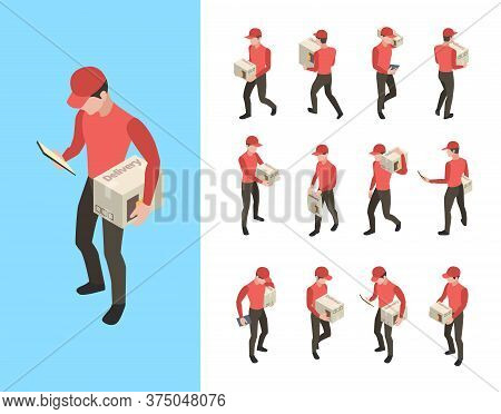 Delivery Couriers. Postal And Cargo Service Workers Holding Packages People Standing Walking Vector