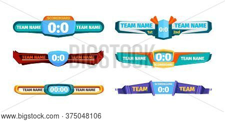 Broadcast Score Banner. Versus Soccer Gaming Players Ui Template Vector Designs. Scoreboard And Scor