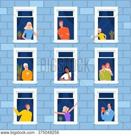 Window Neighbourhood. People Looking Out Of Window Frames Outdoor Building Furniture For Modern Apar