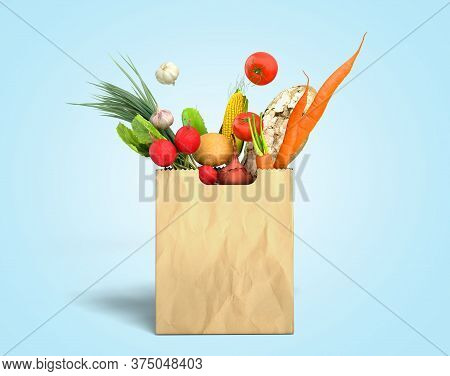 Fresh Food In A Paper Bag For Products 3d Render On Blue Gradient