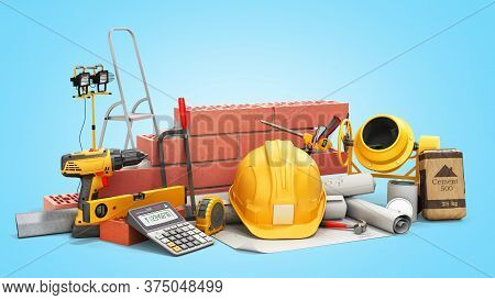 Modern Construction Costing Concept Hard Hat Bricks Wall And Tape Measure In The Drawings Next To Th