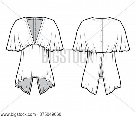 Blouse Technical Fashion Illustration With Elbow Circle Sleeves, Deep V Neck, Split Hem And Snap-fas