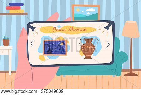 Cartoon Color Museum Exhibit Online Concept Flat Design Style Include Of Exhibition Object. Vector I