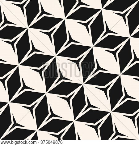 Vector Monochrome Geometric Seamless Pattern. Stylish Black And White Abstract Geometric Texture Wit