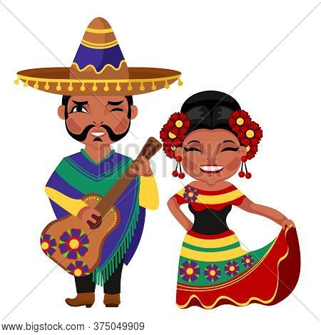 Cartoon Color Characters People Mexican National Costume Concept Flat Design Style. Vector Illustrat
