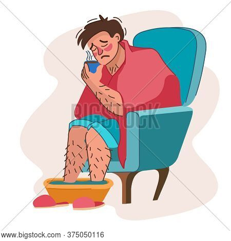 Cartoon Color Character Sick Man Having Cold Concept Flat Design Style Include Of Basin. Vector Illu