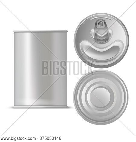 Realistic Detailed 3d Blank Tin Can Empty Template Mockup Set Different View. Vector Illustration Of