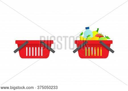 Shopping Basket - Empty And Full Of Foodstuffs  - Vector Illustration