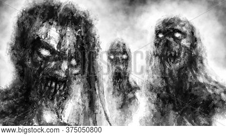 Scary Demonic Zombies With Glowing Eyes. Illustration In Horror Fantasy Genre With Grainy Appearance