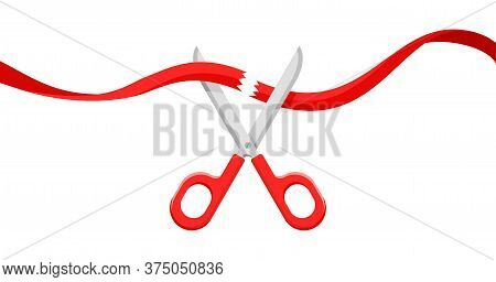 Ribbon Cutting Opening Ceremony - Scissors And Red Wavy Ribbon - Vector Isolated Illustration