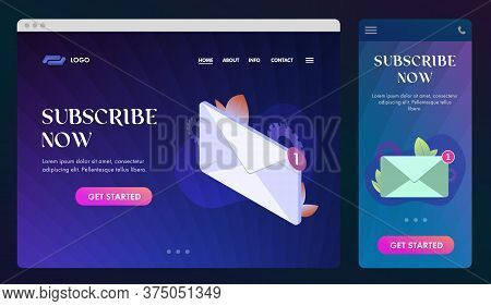 Subscribe Now Ui Ux Web Design And Gui Mobile Application. Email Newsletter Subscription Sign Vector