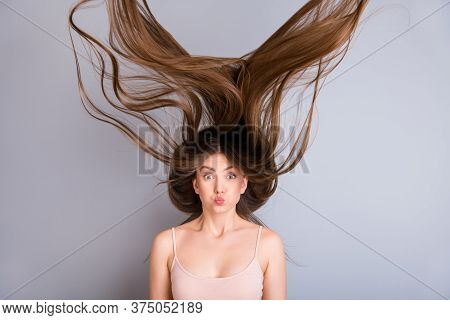 Close-up Portrait Of Nice-looking Attractive Lovely Pretty Charming Funky Amazed Brown-haired Girl W