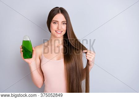 Close-up Portrait Of Her She Nice Attractive Cheery Brown-haired Girl Holding In Hand Green Natural