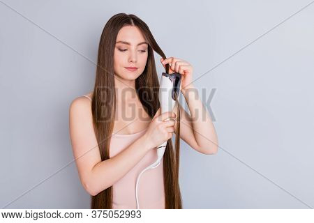 Photo Of Beautiful Model Lady Long Hairstyle Hold Electric Styler Curler Making Straight Curls Wavy