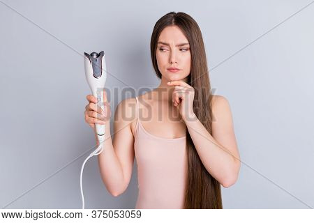 Photo Of Beautiful Lady Long Hairstyle Hold Electric Styler Curler Making Straight Curls Wavy Look S