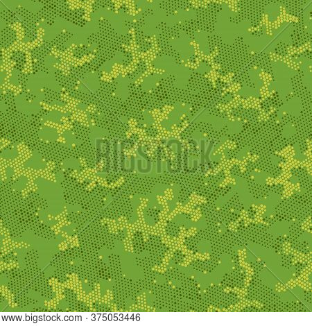 Beige Repeated Artistic Camouflage, Vector Art.  Seamless Graphic Khaki Circle, Camo Clouds. Brown S