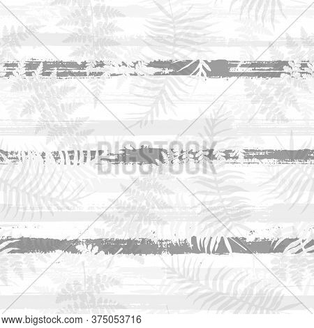 Exotic New Zealand Fern Frond And Bracken Grass Overlaying Stripes Vector Seamless Pattern. Indonesi