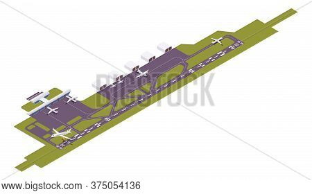 Isometric Vector Airport Runway With Take-off Airplane. 3d Station