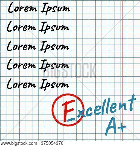 School Assessment In Notebook. Revised Grade. Vector Illustration.