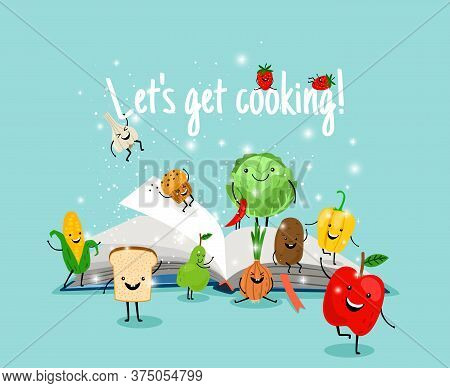 Cooking Book. Cartoon Vegetables And Fruits Have Fun On Pages, Open Cookbook With Recipes, Vector Il