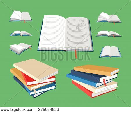 Closed And Open Books. Cartoon Empty Textbooks With Bookmarks. Blank Books In Colored Hardcovers. Ve