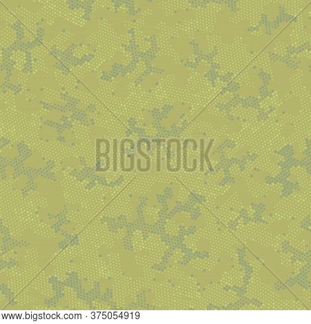 Green Repeated Army Camouflage, Graphic Backdrop.  Seamless Vector Brown Monochrome, Camo Wallpaper.