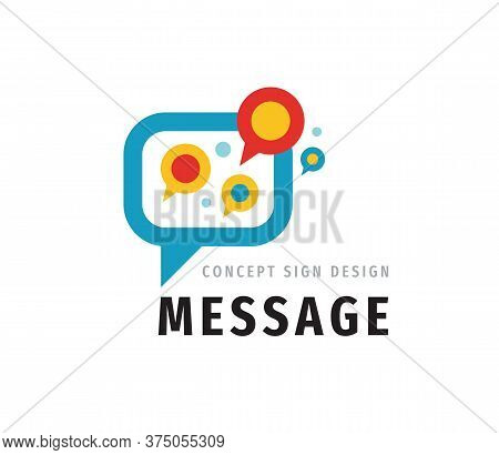 Message Talking - Speech Bubbles Vector Logo Concept Illustration In Flat Style. Dialogue Icon. Chat