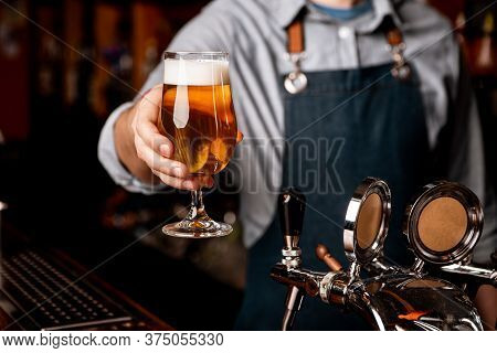 Beer Friday Evening. Barman In Apron Gives Glass Of Light Beer With Foam In Dark Interior Of Pub, Fr