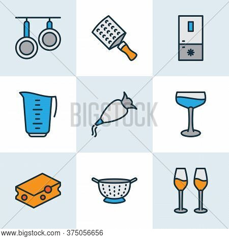 Gastronomy Icons Colored Line Set With Wine Glasses, Freezer, Whipped Cream Clay And Other Drainer E