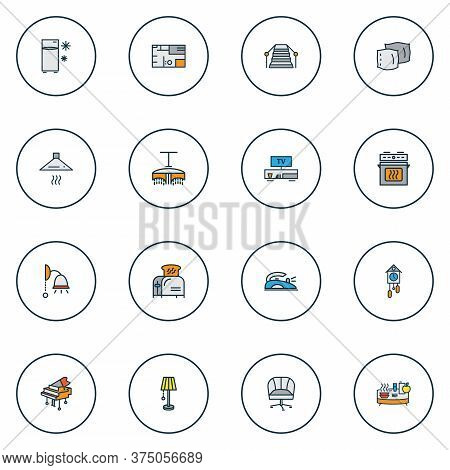 Decor Icons Colored Line Set With House Plan, Iron, Cuckoo Clock And Other Ergonomic Chair Elements.