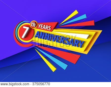 7th Birthday - 3d Rendering Banner Logo Design. Seven Years Anniversary Badge Emblem. Congratulatory