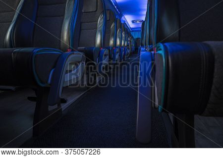 Modern Comfortable International Shuttle Coach Bus With Blue Ambient Light Illumination.