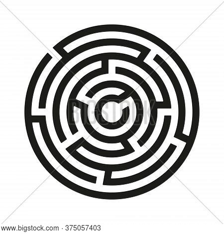Black Circle Vector Maze Isolated On White Background. Black Round Labyrinth With One Entrance And T