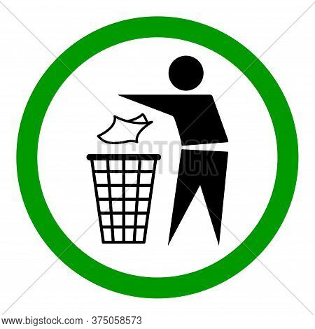 Do Not Litter Flat Icon In Green Circle Isolated On White Background. Keep It Clean Vector Illustrat