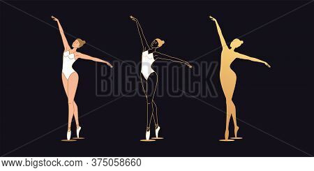 Golden Ballerina Woman In Outline Style. Set Of Gold Silhouette, Ballet Dancer With Flying Hands. Ba