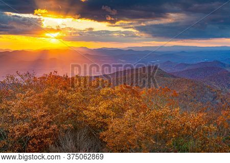 Blue Ridge Mountains at sunset viewed from Brasstown Bald in north Georgia, USA.