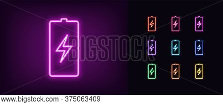 Neon Battery Icon. Neon Charge Battery Sign With Lightning, Set Of Isolated Electric Accumulator In