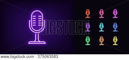 Neon Microphone Icon. Glowing Neon Mike Sign, Set Of Isolated Podcast Symbol In Vivid Colors. Record