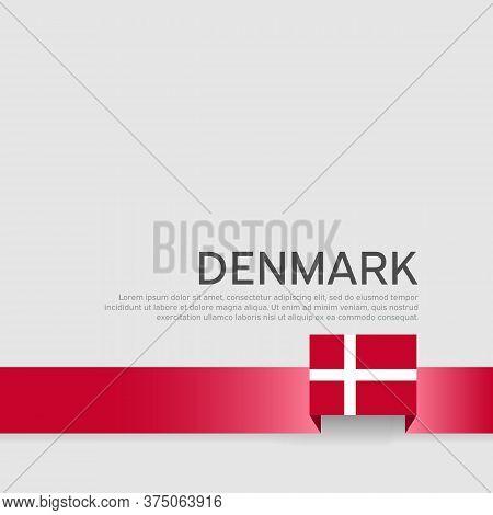 Denmark Flag Background. Business Booklet. Denmark Flag Colored Ribbon On A White Background. Nation