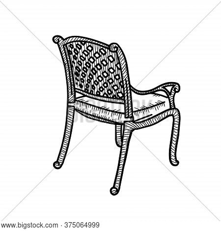 Wicker Garden Chair Sketch. Outdoor Street Cafe Furniture. Vector Hand Drawn Illustration Isolated O