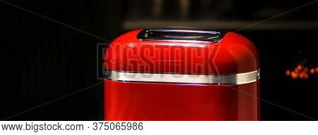 Red Stylish Retro Toaster On Dark Background. For The Purposes Of Advertising And Blogs