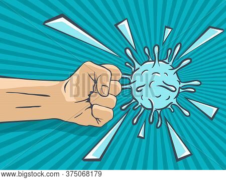 Fight Against Covid-19 Pandemic - People Against Coronavirus Concept - Hotting Fist And Destroyed Ba