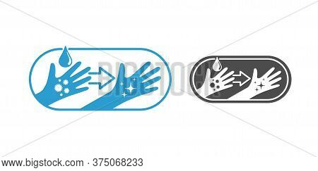 Washing Hands Sign - Difference Between Dirty Hand (with Microbes An Bacteries)  And Clean Hand (wit